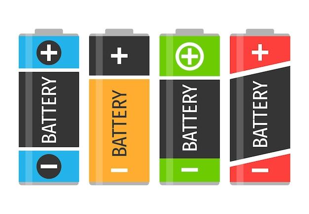 カラフルな電池4個セット。ベクトルイラスト