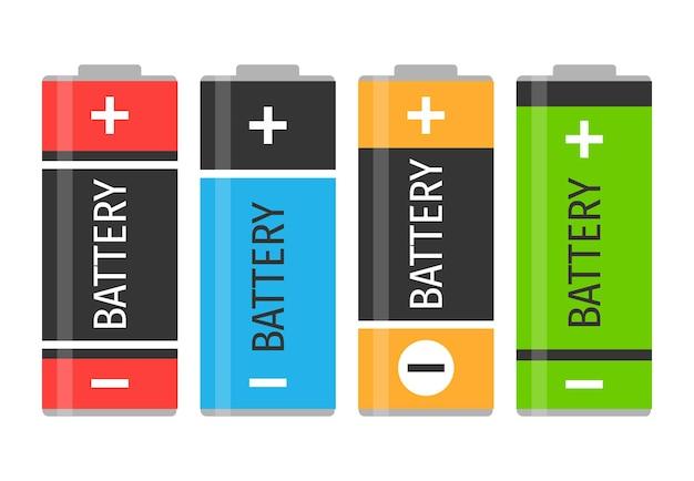 Набор из четырех разноцветных батареек. векторная иллюстрация