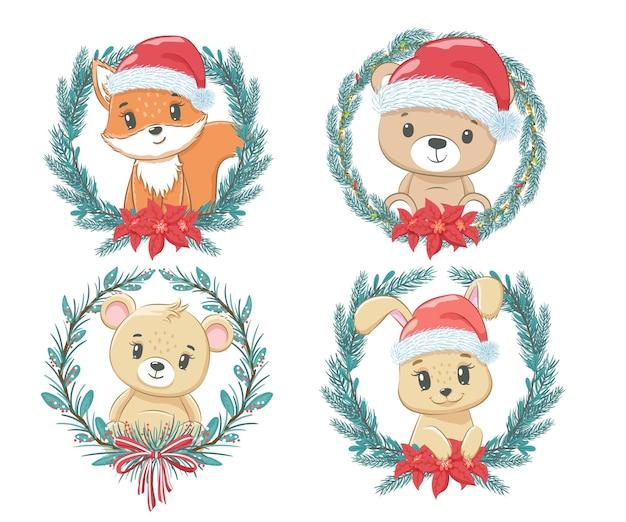 お正月とクリスマスのかわいい動物4匹のセットです。クマの子、キツネの子、うさぎ。漫画のベクトルイラスト。