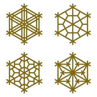 Набор из четырех элементов в виде снежинки в шестиугольнике