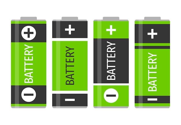 4つの緑色のバッテリーのセット。ベクトルイラスト