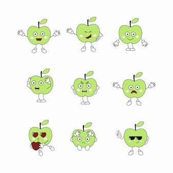 얼굴에 감정이 있는 과일 세트. 재미있는 사과 이모티콘. 애플 패턴의 이모티콘과 스티커. 어린이 위한 벡터 만화 캐릭터입니다. 프리미엄 벡터