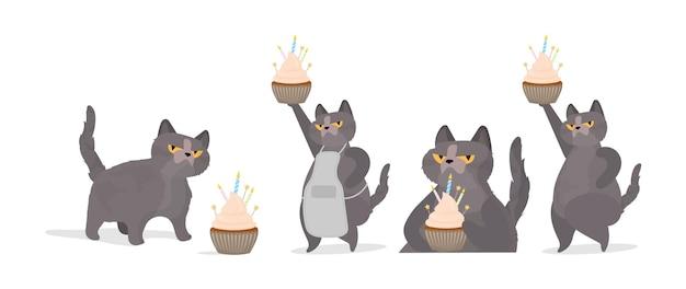 Набор забавных кошек, которые держит праздничный кекс. сладости со сливками, кексами, праздничным десертом, кондитерскими изделиями. подходит для открыток, футболок и наклеек. плоский стиль вектора.