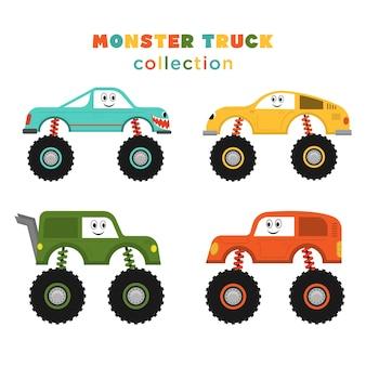 재미있는 몬스터 트럭 만화 세트