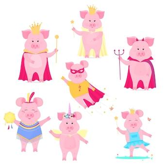 재미있는 돼지 캐릭터 세트입니다. 왕과 여왕, 유니콘, 슈퍼 히어로, 할로윈의 악마. 귀여운 돼지. 벡터 돼지입니다.