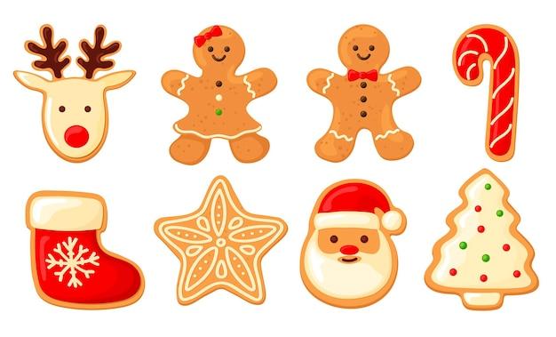 Набор пряников. печенье человечек, носок для подарков, елка, олень, санта, снежинка,