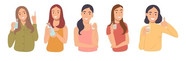 유리 잔과 물 한 병을 들고있는 소녀들의 집합. 물 균형 개념.