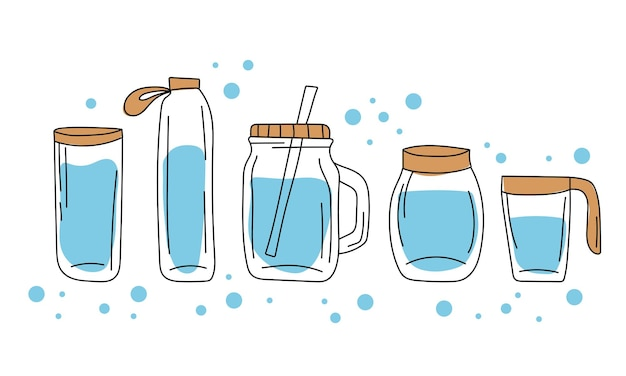 ガラス容器と水筒のセット。手描きスタイル