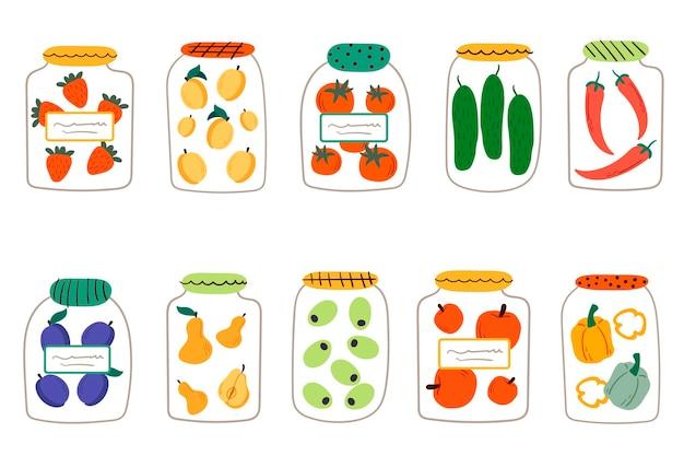 野菜と果物のピクルスとガラスの瓶のセット。漫画フラットベクトルイラスト。缶詰の果物や野菜、健康的な食事セットのベクトル図
