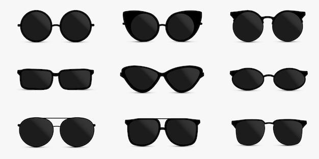 分離されたメガネのセット。メガネモデルアイコン。サングラス、メガネ、白い背景で隔離。
