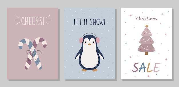 グリーティングカードのセットキャンディペンギンのクリスマスツリー