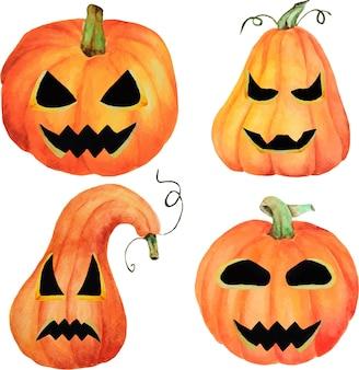 Набор хэллоуин тыква джек, изолированный объект на белом фоне, акварель рисованной иллюстрации, мультипликационный персонаж