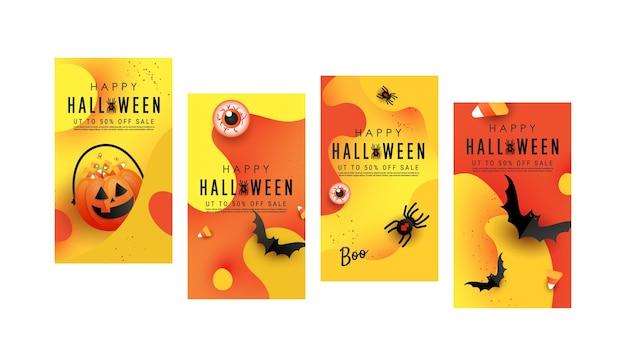 Набор шаблонов векторных иллюстраций для тематических вечеринок на хэллоуин для историй в социальных сетях
