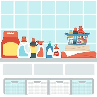 バスルームのインテリアにある家庭用化学薬品のセット。シャワーの貯蔵システム。
