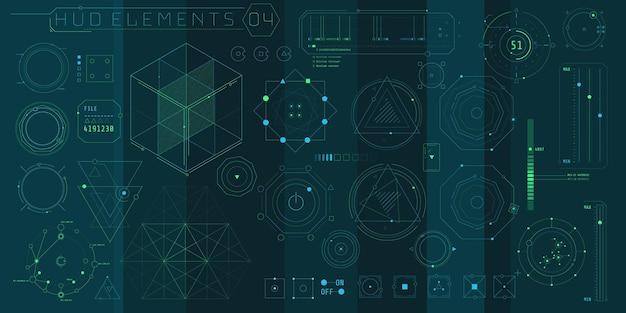 Набор геометрических элементов hud для футуристического интерфейса.