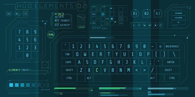 미래 지향적 인 인터페이스를위한 hud 키보드 요소 세트.