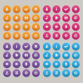 Набор иконок разного цвета для дизайна пользовательского интерфейса мобильного