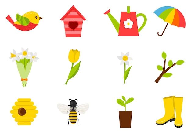 春夏をテーマにしたアイコンセット。昆虫、鳥、チューリップ、天気、巣箱