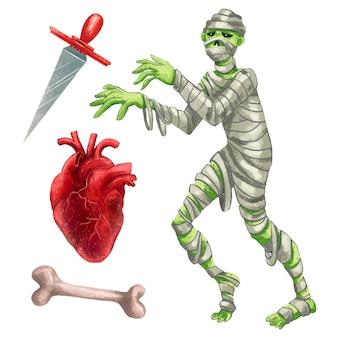 ハロウィーンのミイラ、犠牲ナイフ、解剖学的な心臓、骨のイラストのセット