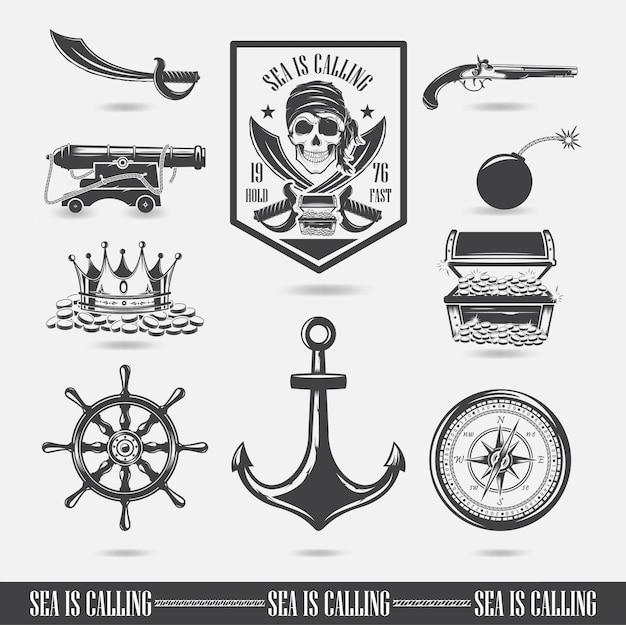 頭蓋骨のイラスト、海洋テーマ、アイコン、ロゴのセット。海賊ベクトル