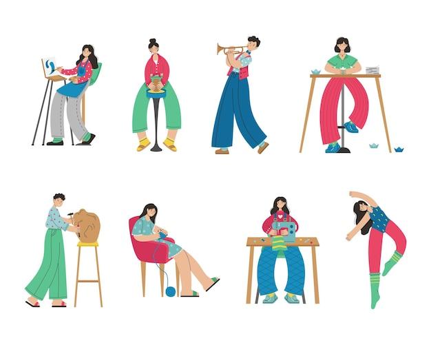 Набор иллюстраций людей творческих профессий. художник, оригами, танцовщица, шитье, вязание, лепка из глины, скульптура