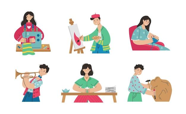 創造的な職業の人々のイラストのセット。アーティスト、折り紙、裁縫、編み物、粘土のモデリング、彫刻