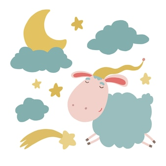 かわいい子羊の雲の月と星のイラストのセット