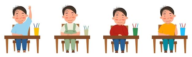 教室の机に座っている学生とイラストのセット。テーブルにいるアジア人の少年が手を挙げた。白い背景で隔離のフラットスタイルのモダンなベクトルイラスト。
