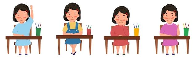 教室の机に座っている学生とイラストのセット。テーブルにいるアジア人の女の子が手を挙げた。