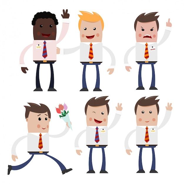 様々なポーズでのビジネスマンのイメージのセット。