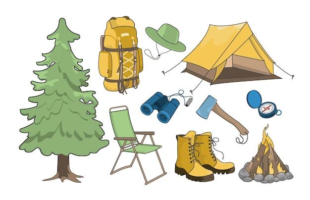 Набор предметов для походов или кемпинга. оборудование для комфортного отдыха на отдыхе в лесу.