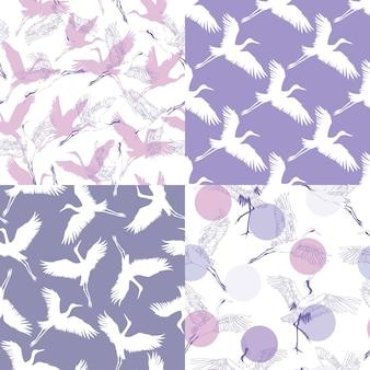 日本のパターンのセット。伝統的なモチーフのシームレスなベクトルの装飾品。