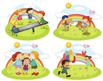 Набор детей, играющих на детской площадке