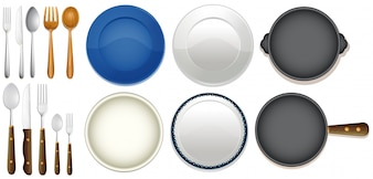 A Set of Kitchenware on White Background