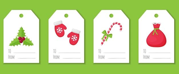 クリスマスの要素を持つギフト用のラベルとタグのセット。ホリー、毛皮のミトン、ギフトのバッグ、弓のキャンディー杖。白い背景の上のフラットスタイルのかわいいイラスト。