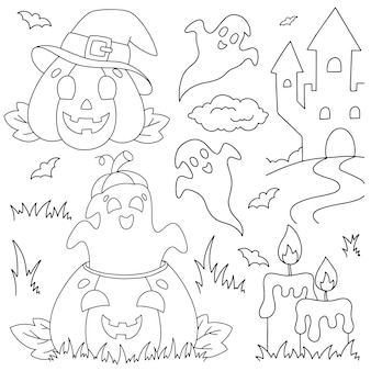 Набор смеющихся тыкв и призраков раскраска для детей на тему хэллоуина