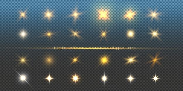 イラストや背景の光の効果のセット