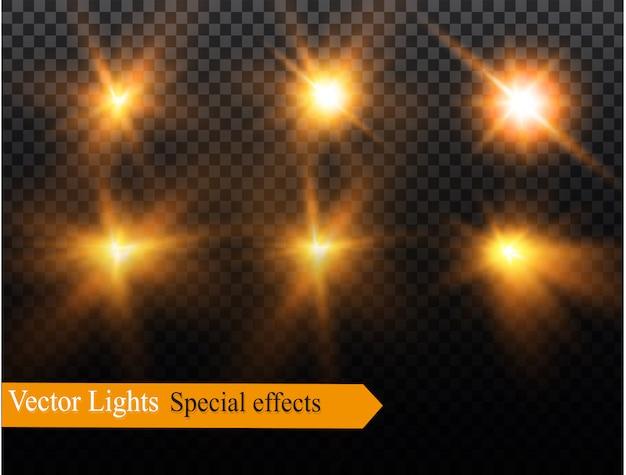 Набор молнии магия и яркие световые эффекты. иллюстрации. разрядите электрический ток. ток зарядки. природные явления. иллюстрация эффекта энергии. яркий свет вспышки и искры.