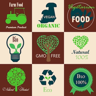 완전채식 생태농산물과 유기농 천연 과일과 채소에 대한 로고 세트
