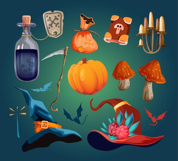 魔法の魔女アイテムのセット。帽子、スタッフ、ポーション付きフラスコ、魔法のバッグ、フォリオ、キノコ、骨、メダリオン、魔法の巻物、魔法の目。白で隔離の株式ベクトル手描きイラスト。