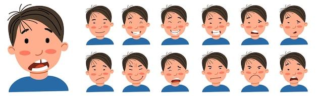 Набор мужских эмоций. азиатский парень - аватар.
