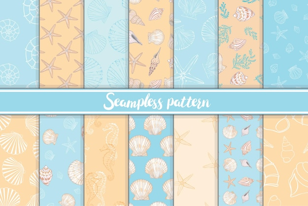 오렌지와 블루의 해양 및 해양 원활한 패턴의 집합입니다.