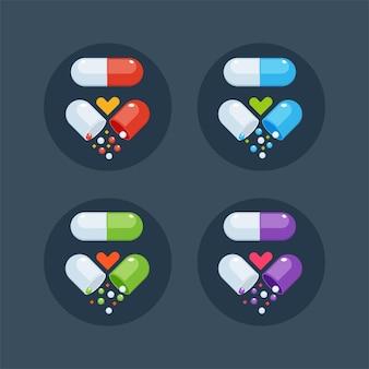 의료용 캡슐 세트. 빨강, 파랑, 녹색 및 자주색