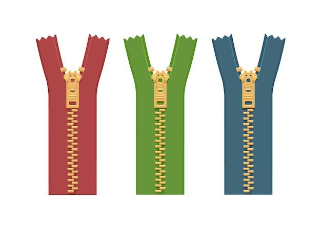 Комплект металлических молний для одежды разных цветов