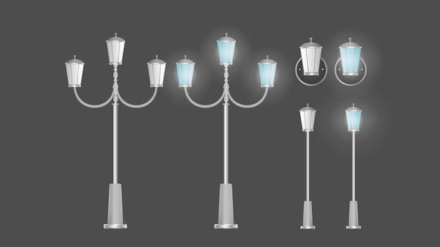 Набор блестящих металлических фонарей. фонарный столб с реалистичным светом. вектор.