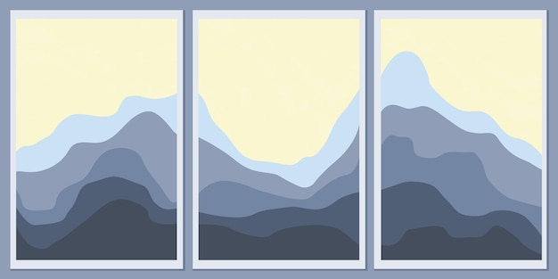최소한의 흑백 풍경 세트입니다. 세련된 배경을 위한 추상 산