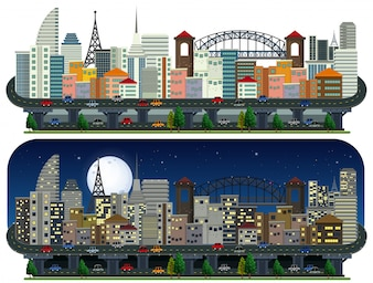 A Set of Modern City Day and Night