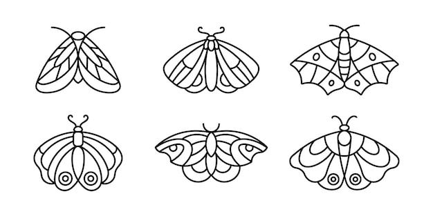 미니멀한 스타일의 나방 및 나비 아이콘 윤곽선 세트. 미용실, 매니큐어, 마사지, 스파, 문신 및 손으로 만든 마스터를 위한 벡터 선형 곤충 로고.