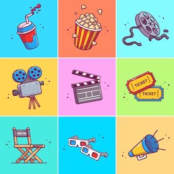 映画アイコンイラストのセット。分離された映画アイコンコンセプトのコレクション