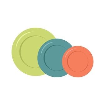 여러 가지 빛깔의 접시 세트입니다. 점심, 저녁, 아침 식사를 위한 요리. 주방 용품.